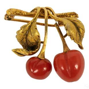 18K Gold & Red Coral Fruit and Foliate Brooch 11g.