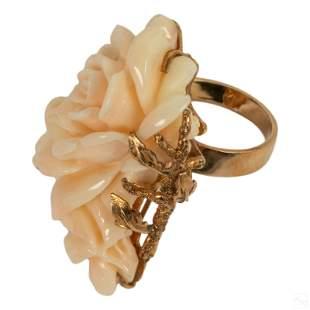 14K Gold Natural Angel Skin Coral Flower Ring 16g.