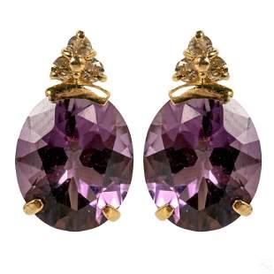 14K Gold Diamond and Oval Amethyst Post Earrings