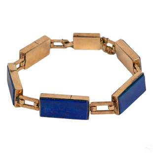 "14K Gold Modern Lapis Lazuli Panel Bracelet 7.25"""