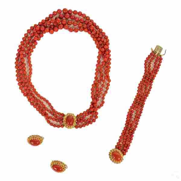 14k Gold Red Coral Necklace Bracelet & Earring Set