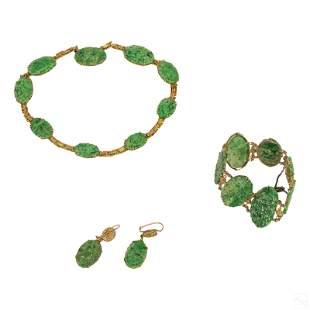 14K Gold Chinese Jade Earrings Necklace & Bracelet