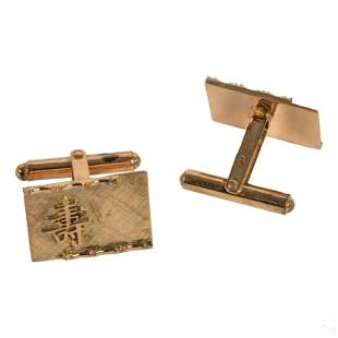 14K Gold Chinese Character Vintage Mens Cufflinks