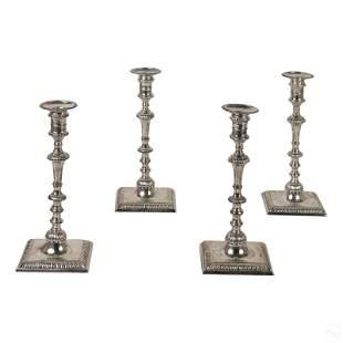 Georgian English 1763 Sterling Silver Candlesticks