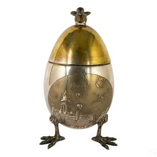 """19th Century 8"""" Silver Plate Tripodal Egg Canister"""