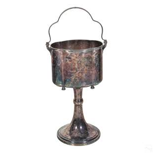 Hollywood Regency Silver Plate Ice Bucket & Stand
