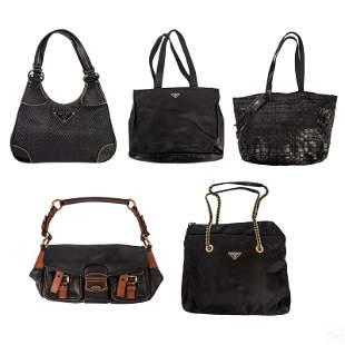 Prada Italian Collection of 5 Black Purse Handbags