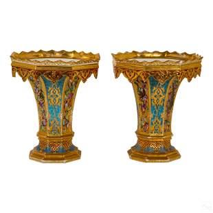 Pair Fine Antique Old Paris French Porcelain Vases