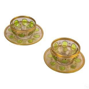 Antique Moser Czech Glass Gold Gilt Bowls Saucers