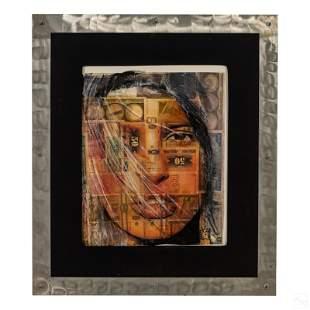 Royi Akavia b1956 Abstract Money Portrait Painting