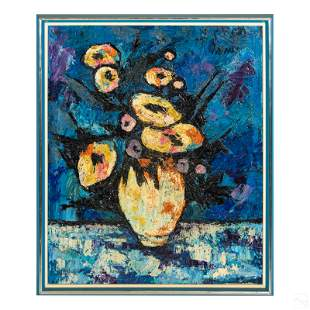 Modern Abstract Impasto Floral Still Life Painting