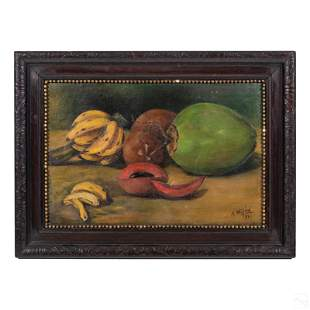 Tropical Fruit Signed Antique Still Life Painting
