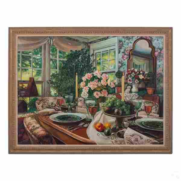 Peter Ho (20th C) Interior Still Life Oil Painting