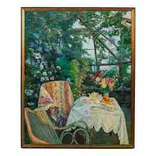Peter Ho (20th C.) Garden Still Life Oil Painting