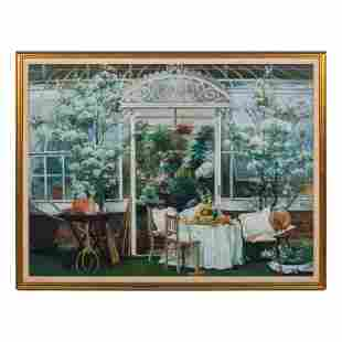 Peter Ho 20thC. Greenhouse Still Life Oil Painting