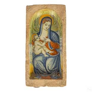 Italian Ceramic Madonna & Child Architectural Tile