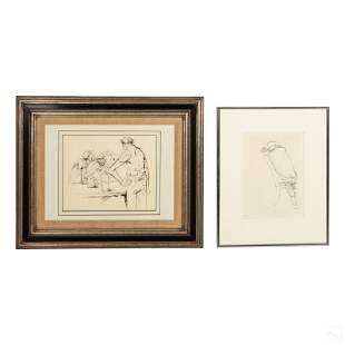 Mid Century Modern Original Figural Ink Drawings