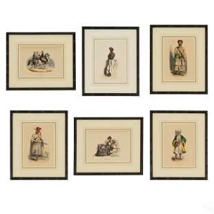 6 Orientalist Colored Art Prints on Paper FRAMED