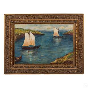 Coastal Sailboat Oil Painting after Fern Coppedge