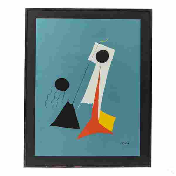 Composition In Blue Modern Print after Joan Miro