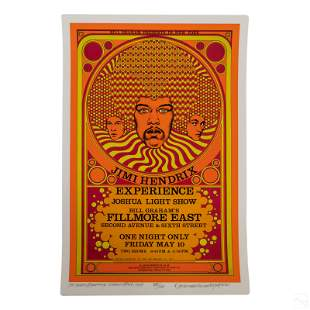 David Byrd b.1941 Jimi Hendrix Fillmore Poster COA