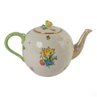 Herend Hungarian Porcelain Gilt Floral Teapot 2002