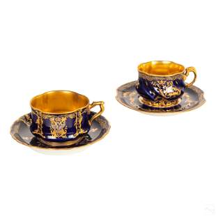 Herbiniere Tours French Porcelain Cups and Saucers