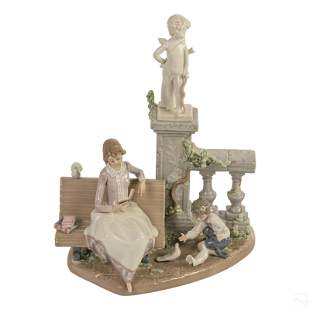 """Lladro Studying In The Park 13"""" Figurine Sculpture"""