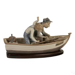 """Lladro Fishing With Gramps 15"""" Porcelain Figurine"""