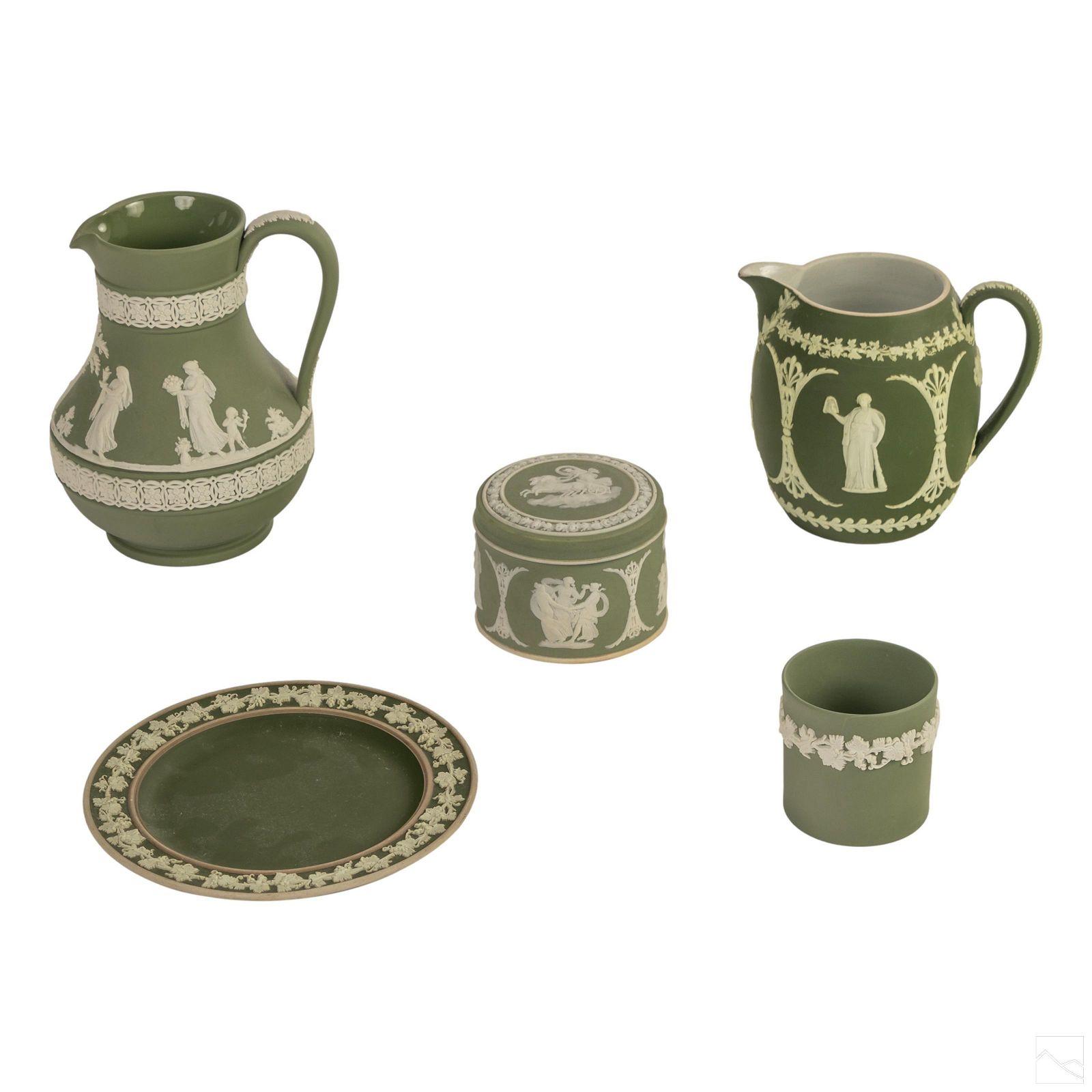 Wedgwood English Green Jasperware Pottery Group