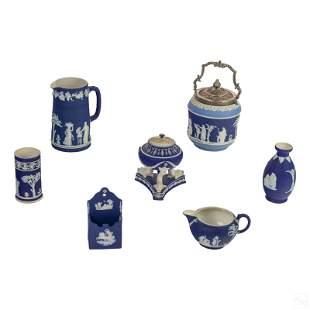 Wedgwood Portland Blue Jasperware Pottery Group