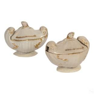 English Antique Gilt Porcelain Shell Gravy Boats