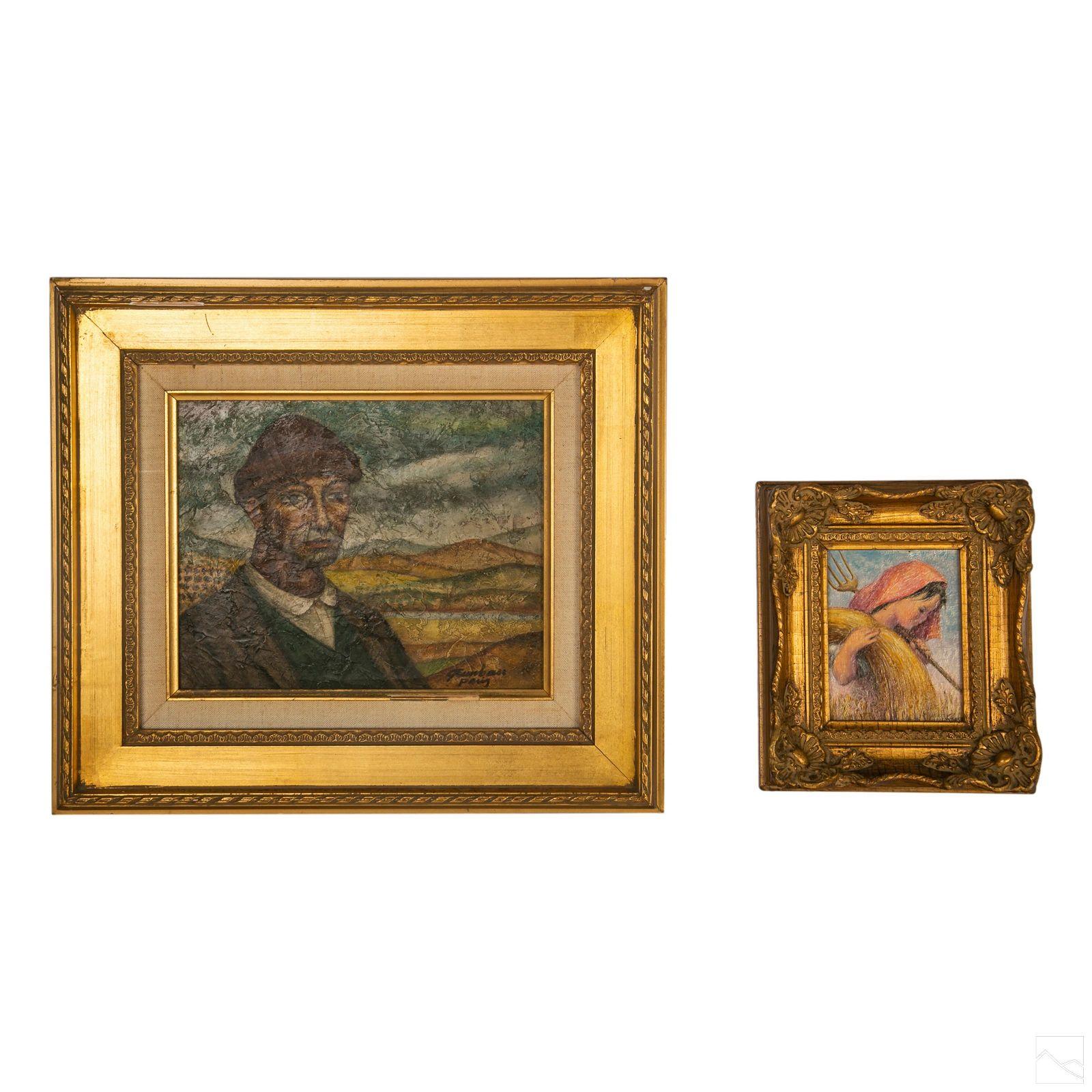 Mid Century Modern Figural Art Oil Paintings Group