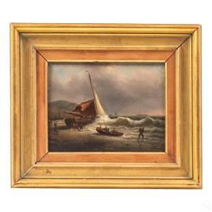 Francois E Musin (1820-1888) Seascape Oil Painting