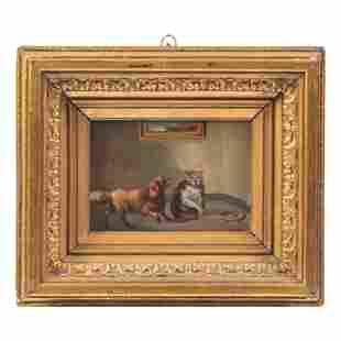 Vincent De Vos 1829-1875 Dog Cat Portrait Painting