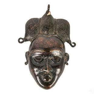 African Style Tribal Bronze Wall Hanging Face Mask