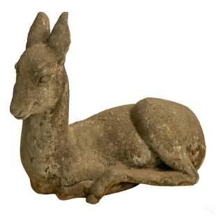 "Asian Recumbent 22"" Baby Fawn Deer Cast Sculpture"