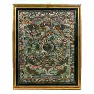"Buddhist 19th C. 52"" Hand Painted Thangka Painting"