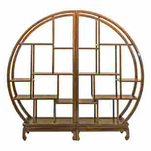 Chinese Demilune Moon Window Style Wooden Shelves