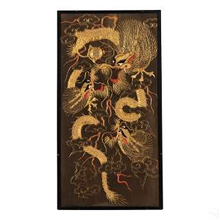 Chinese Gold Embroidered Dragon & Pearl Silk Panel