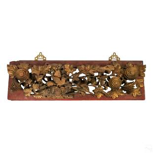 Chinese Gilt Wood High Relief Birds & Floral Panel