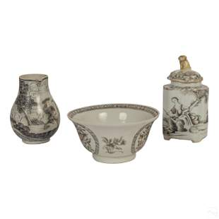 Chinese Fine Grisaille Decorated Porcelain Tea Set