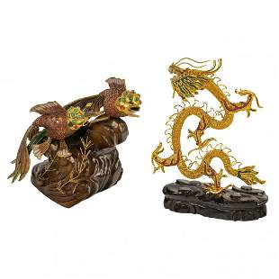 Chinese Gilt Metal Enamel Fish & Dragon Figurines