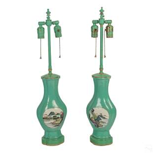 """Chinese 26"""" Turquoise Glazed Scenic Vase Lamps"""