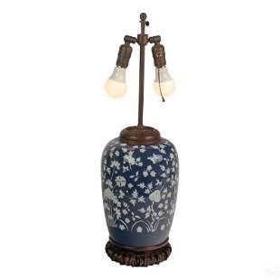 Chinese Blue Pate Sur Pate Porcelain Melon Lamp