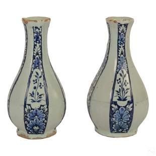 Chinese Antique Blue White Porcelain Floral Vases