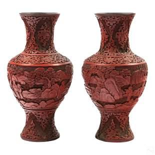 """Chinese Vintage 10"""" Carved Red Cinnabar Vases Pair"""