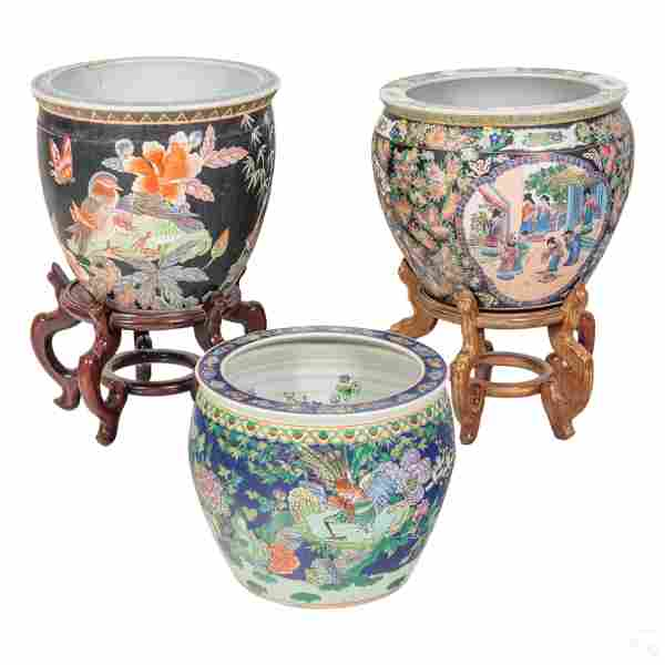Chinese Famille Rose Style Porcelain Bowl Planters