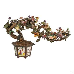 Chinese Floral Jade Tree and Cloisonne Flower Pot