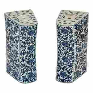 Pair Chinese Pierced Blue White Porcelain Pillows